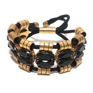 J.CREW Black Gold Rope Bracelet Adjustable